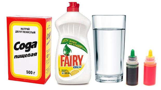 Вода,сода и жидкость для мытья посуды